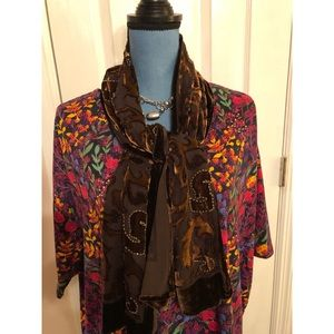 Brown velvet burnout fashion scarf. EUC LNWOT
